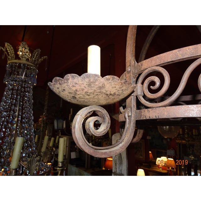 Vintage French Wrought Iron Chandelier For Sale - Image 10 of 12