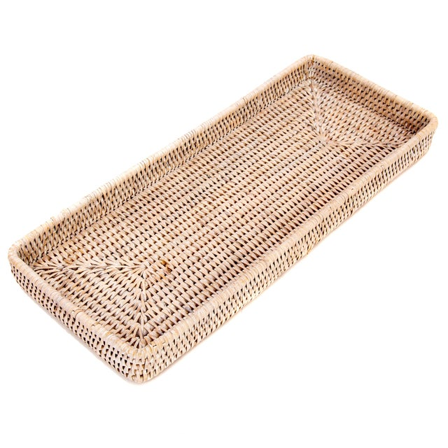 "Artifacts Rattan Rectangular Tray 14""x6""x2"" For Sale - Image 4 of 4"
