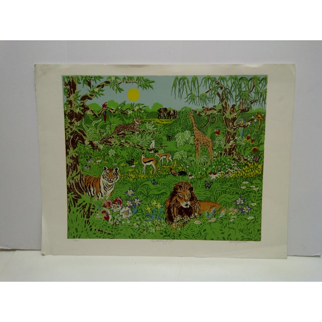 "This is a Limited Edition Signed and Numbered (123/175) Print that is titled ""Enchanted Jungle"" by Miriam Ecker."
