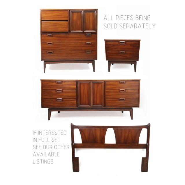 Brown 1960s Danish Modern Highboy 5-Drawer Dresser With Cabinet For Sale - Image 8 of 9