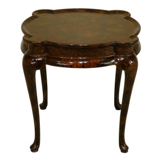 Maitland Smith Paint Decorated Scalloped Corner Occasional Table For Sale