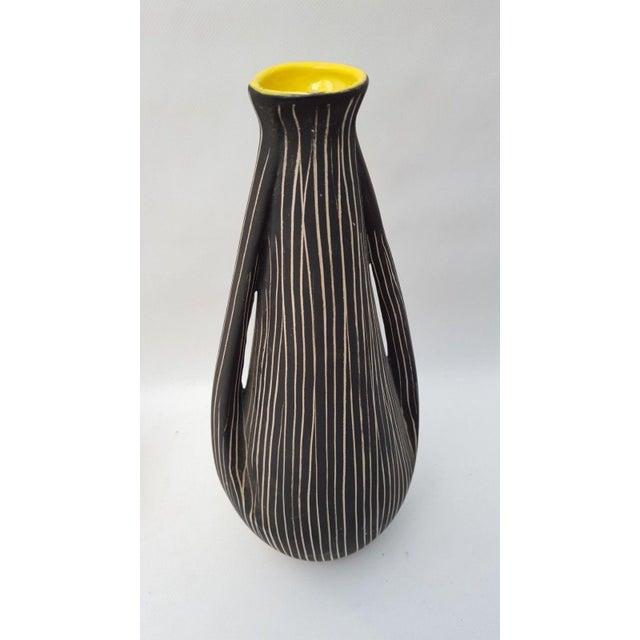 Ceramic Midcentury Italian Black Yellow Enamel Ceramic Vase, 1960s For Sale - Image 7 of 8