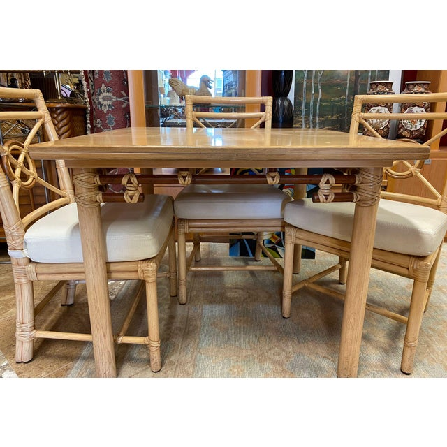 """McGuire McGuire """"Target"""" Rattan Dining Set - 5 Pieces For Sale - Image 4 of 13"""