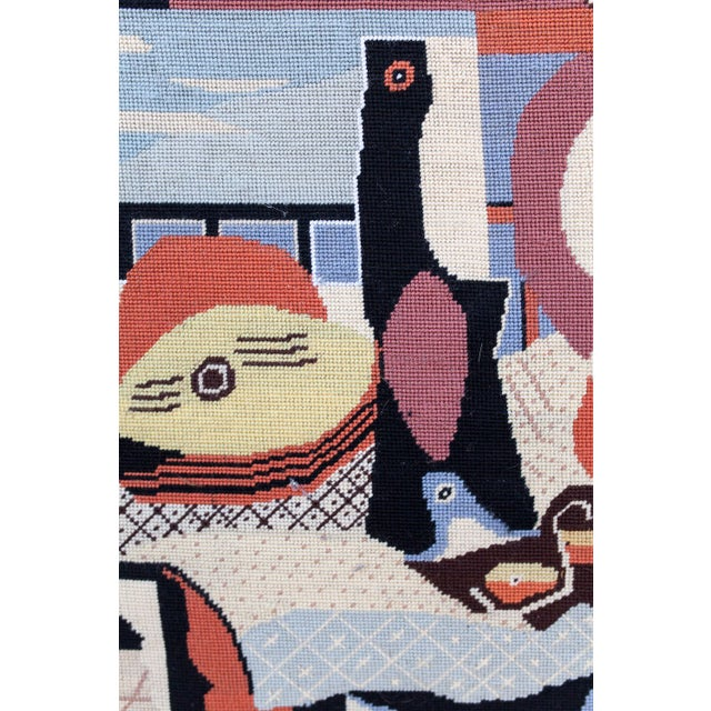 Mid-Century Modern Needlepoint Art Picasso's 'Mandolin and Guitar' For Sale - Image 3 of 4