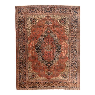 Late 19th Century Hand Knotted Persian Farahan Sarouk Wool For Sale