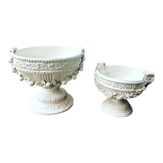 A Pair of 19th Century Antique Italian Highly Decorated White Porcelain Bowls For Sale