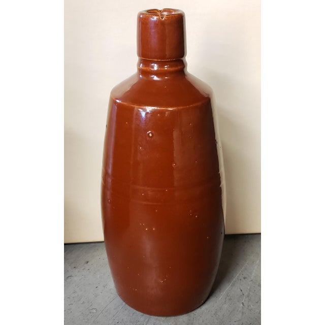 Contemporary Mid 20th Century Reddish Brown Glazed Stoneware Bottle For Sale - Image 3 of 7