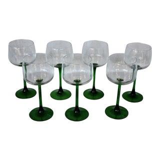 Green Stem Wine Glasses - Set of 7 For Sale