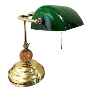 Vintage Brass & Emerald Green Glass Bankers Desk Lamp For Sale