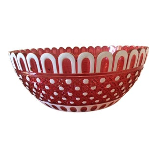 1800's Rare Thomas Webb White Cut to Cranberry Crystal Bowl, Signed W/ Genuine Webb Hallmark For Sale