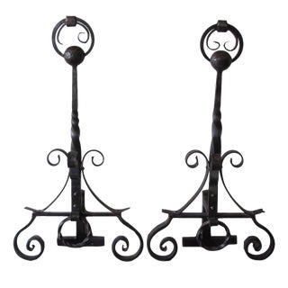 Hand Forged Wrought Iron Andirons - A Pair