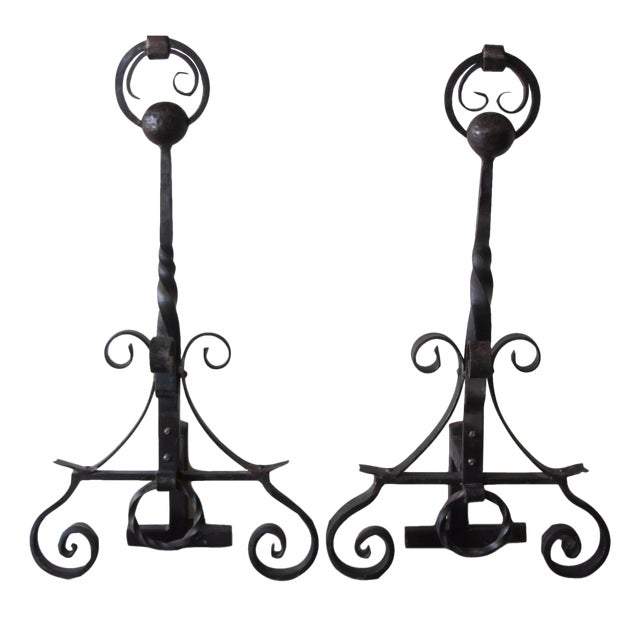 Hand Forged Wrought Iron Andirons - A Pair For Sale