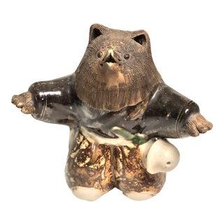 Antique Japanese Porcelain Bear Figurine, Signed For Sale