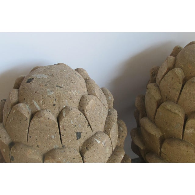 A robust pair of Mexican hand-carved cantera stone artichoke elements For Sale - Image 4 of 5