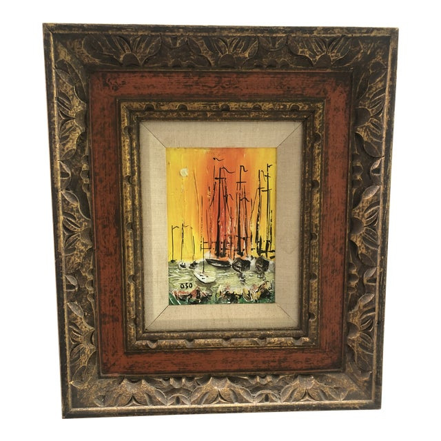 1970s Style Modern Ships Small Painting For Sale