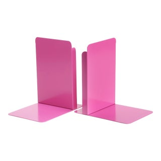 Pair of Vintage Steel Library Bookend Refinished in Pink For Sale