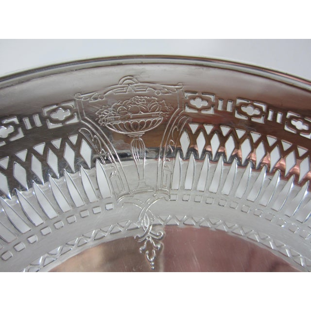 1930s Silver Plate Serving Bowl For Sale - Image 6 of 9