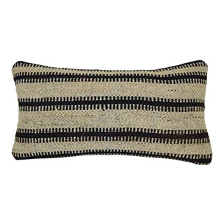 Tribal Striped Unique Cushion Cover, Ethnic Turkish Decor, Lumbar Kilim Pillow Cover 10'' X 20'' (25 X 50 Cm) For Sale