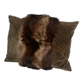 Contemporary Fur Raccoon Pillow For Sale