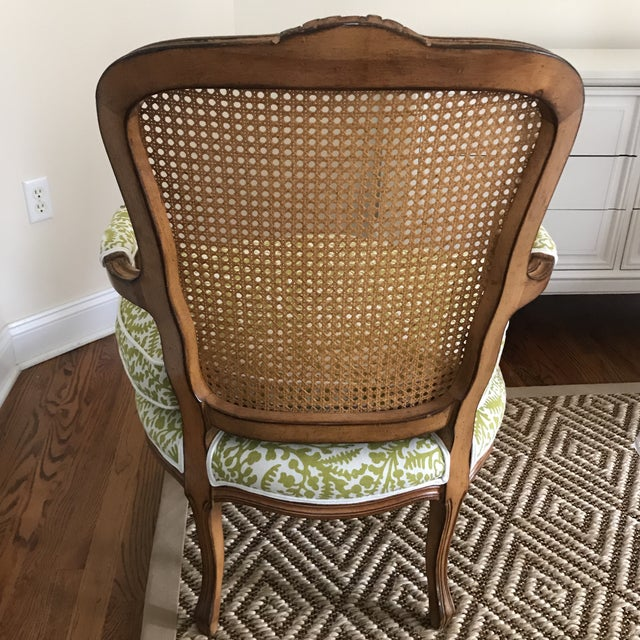 Vintage Cane French Louis Chair Raoul Textiles Fabric For Sale In New York - Image 6 of 7
