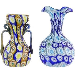 Antique Murano Fratelli Toso Millefiori Flower Mosaic Italian Art Glass Vases - a Pair For Sale