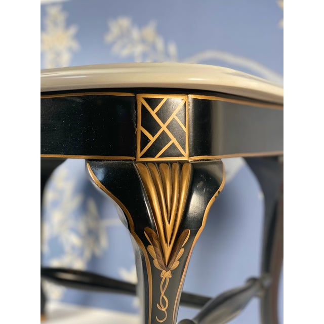 Black Drexel Chinoiserie Black & Gold Side Table Pair With White Marble Tops, a Pair For Sale - Image 8 of 10