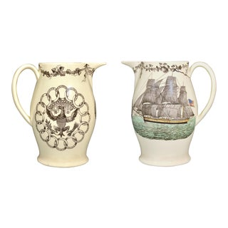 Creamware American-Market Ship Jugs With Fifteen State Ring Design With Eagle on Reverse - a Pair For Sale