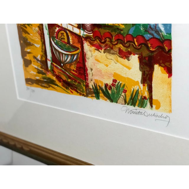 Hollywood Regency Vibrant Impressionist Retro Framed Print of a Colonial Town For Sale - Image 3 of 11