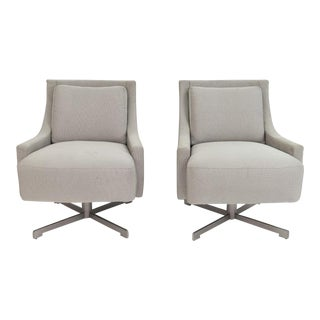 Barbara Barry for HBF Furniture Scoop Swivel Lounge Chairs - A Pair For Sale