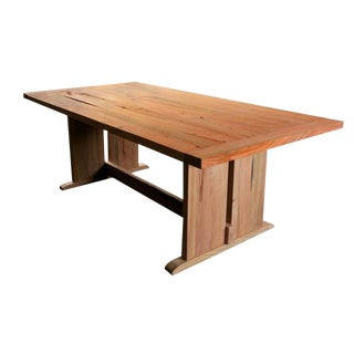 French Country Style Artisan Trestle Cherry Dining Table For Sale
