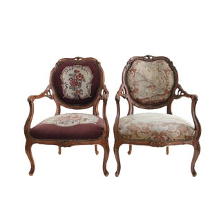 French Walnut Aubusson Chairs - A Pair For Sale