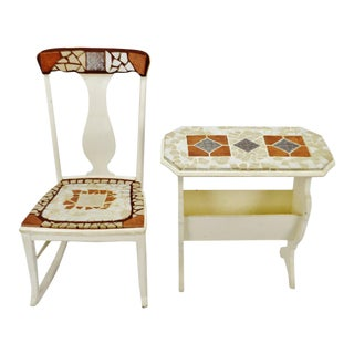 Vintage Mosaic Tiled Rocking Chair & Side End Table Magazine Rack For Sale