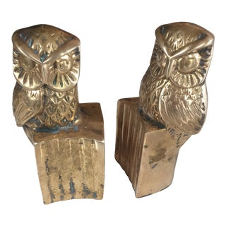 Brass Owl Library Bookends - a Pair For Sale