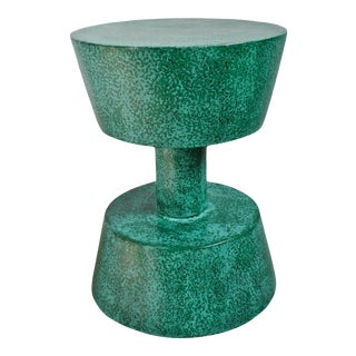 Verdigris Painted Wood Stool / Side Table For Sale