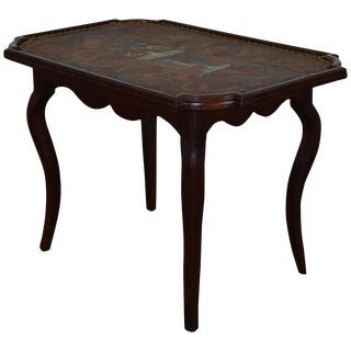 18th C. French Louis XIV Oak and Leather Decorated Side Table For Sale