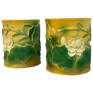 Pair of Hollywood Regency Chinese Bamboo Motif Brushpot Motif Cachepots For Sale
