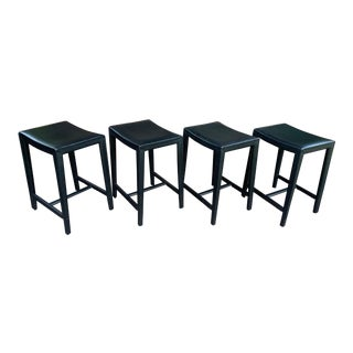 Modern Designer Black Stitched Leather Stools- Set of 4 For Sale