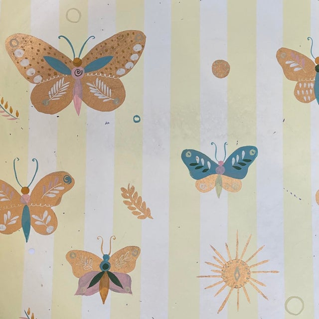 Mid-Century Modern 1950s Georges Briard Tole Butterflies + Flora Tray, Signed For Sale - Image 3 of 13