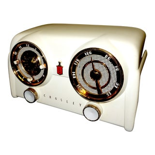 Crosley Art Deco Mid Century Cream Bakelite Clock Radio For Sale