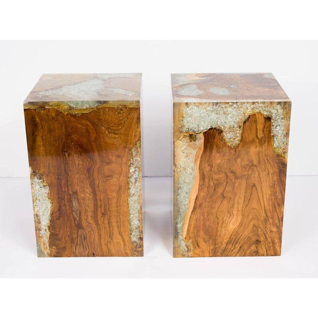 Pair of Organic Modern Bleached Teak Wood and Resin Side Tables For Sale In New York - Image 6 of 13