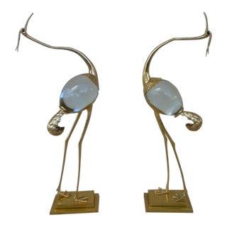 1970s Italian Franco Lapini Gold Gilt Bird Figurines - a Pair For Sale