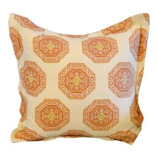 Quadrille Medallion Melon Camel on Cream Pillow For Sale