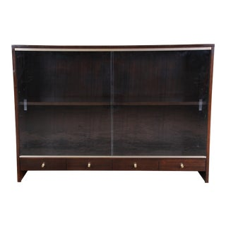 """Paul McCobb for Calvin """"Irwin Collection"""" Mahogany Glass Front Cabinet or Bookcase For Sale"""