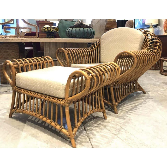 1980s Franco Albini Rattan Chair and Ottoman Set For Sale - Image 11 of 12