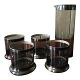 Image of Vintage Silver Rim Cocktail Glasses & Pitcher - Set of 5 For Sale