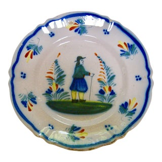 Antique Henriot Quimper Pottery Plate For Sale