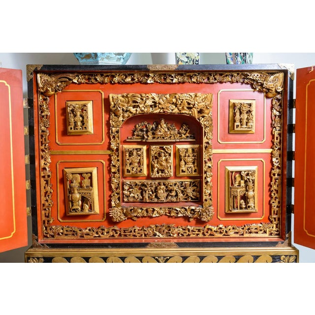 Gold Chinese lacquered cabinet on stand For Sale - Image 8 of 11
