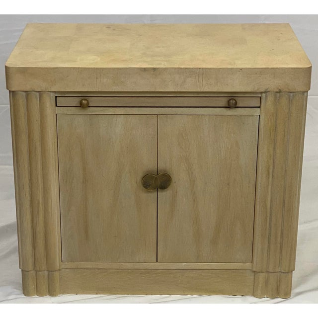 This Vintage Nightstand / Side Table made by Hickory White features 2 Cabinet Doors and a Brushing Slide as well as...