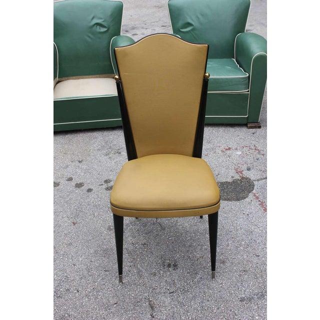 French Art Deco Ebonized Walnut Chairs - Set of 6 - Image 2 of 7