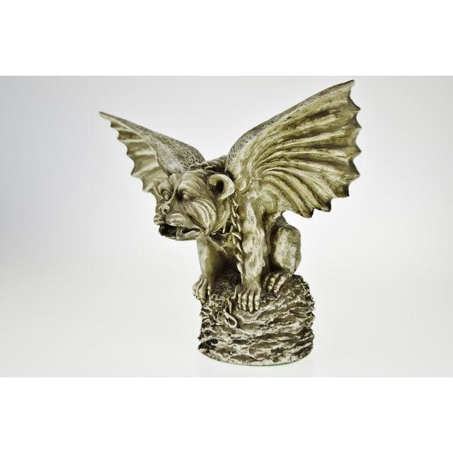 Vintage Gothic Grotesque Gargoyle Winged Dog Statue - Image 5 of 11